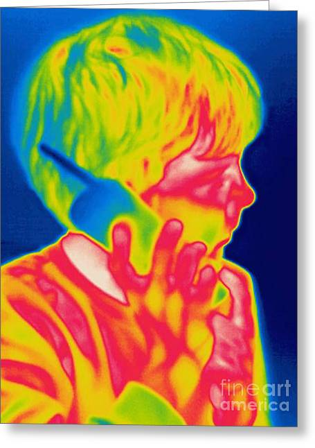 Phone Conversation Greeting Cards - A Thermogram Of A Boy Talking Greeting Card by Ted Kinsman