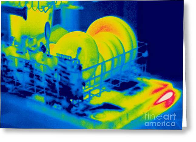 Thermogram Greeting Cards - A Thermogram Of A Dishwasher With Dishes Greeting Card by Ted Kinsman