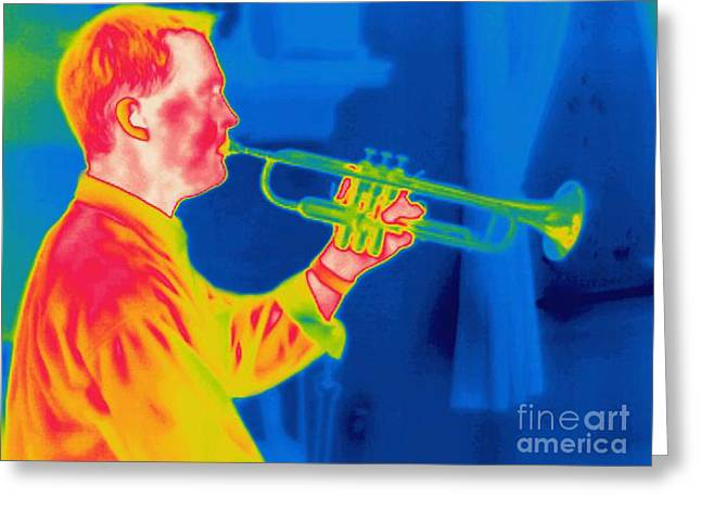 Playing Musical Instruments Greeting Cards - A Thermogram Of A Musician Playing Greeting Card by Ted Kinsman