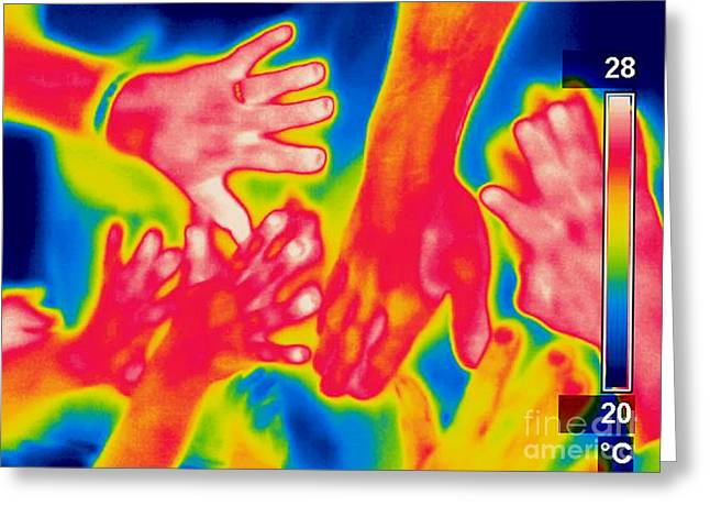 Thermogram Greeting Cards - A Thermogram Of A Pile Of Human Hands Greeting Card by Ted Kinsman