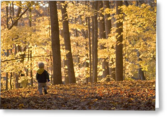 Informal Portraits Greeting Cards - A Three Year Old Boy Walks Greeting Card by Skip Brown