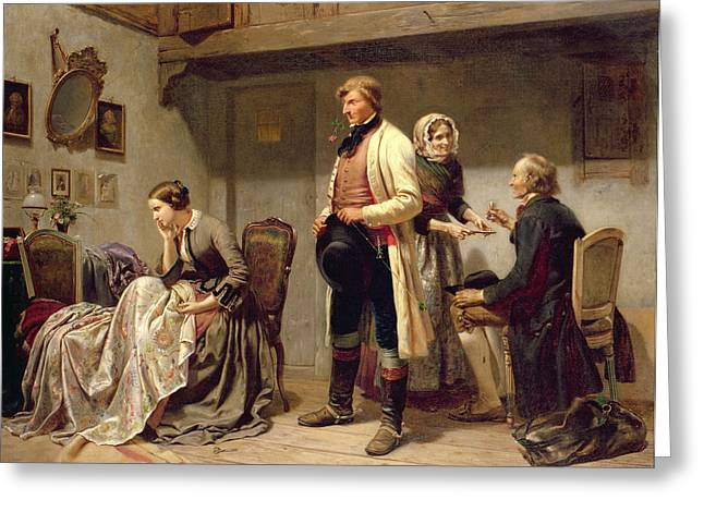 Cold Feet Greeting Cards - A toast to the engaged couple Greeting Card by Carl Wilhelm Huebner