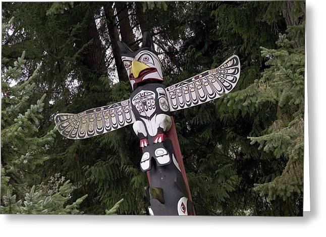 A Totem Pole In British Columbia Greeting Card by Taylor S. Kennedy