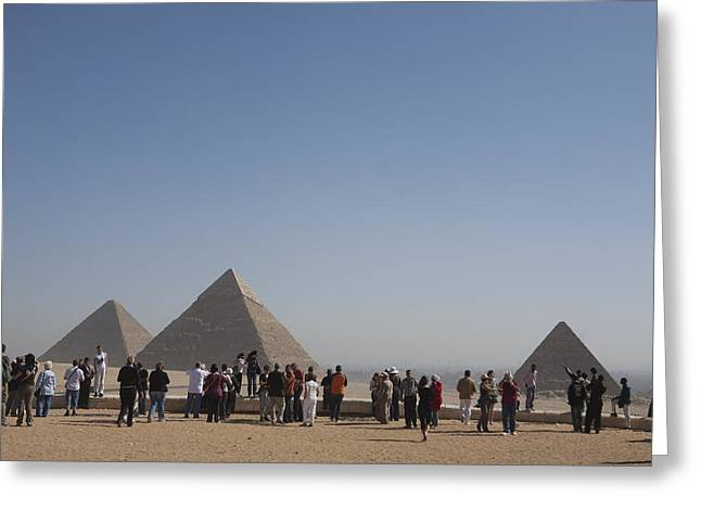 Pharaoh Greeting Cards - A Tourist Crowd At The Great Pyramids Greeting Card by Taylor S. Kennedy
