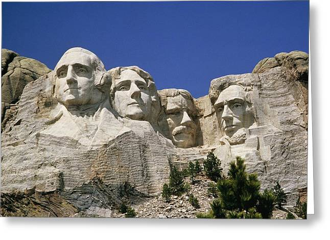 American Presidents And Prime Ministers Greeting Cards - A Tourists Eye View Of Mount Rushmore Greeting Card by Paul Damien