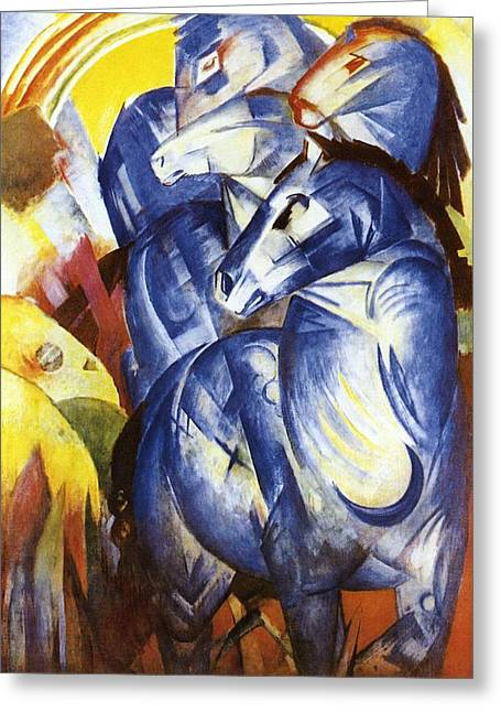 Blue Horse Greeting Cards - A Tower of Blue Horses Greeting Card by Franz Marc