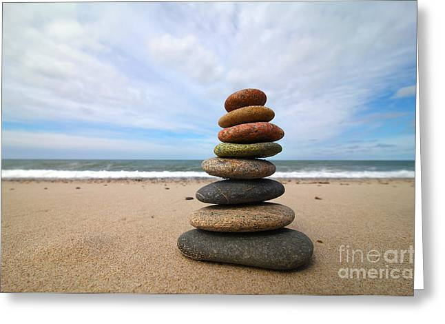 Greeting Cards - A Tower of Stones on the Beach Greeting Card by Holger Ostwald