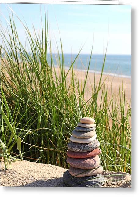 Greeting Cards - A Tower of Stones on the Dune Greeting Card by Holger Ostwald