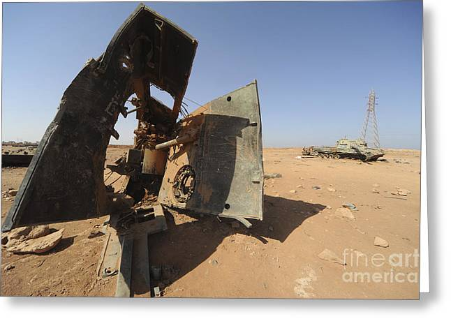 A Tracked Artillery Vehicle Destroyed Greeting Card by Andrew Chittock