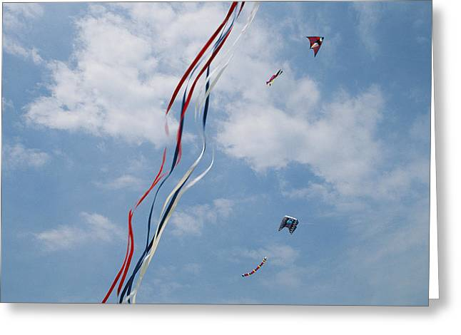 A Train Of Kites Flies At The Jockeys Greeting Card by Stephen Alvarez