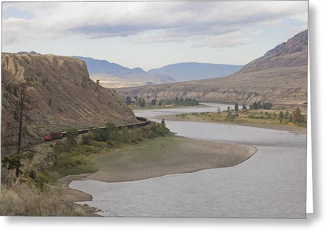 Okanagan Valley Greeting Cards - A Train Passes Through The Desert Greeting Card by Taylor S. Kennedy