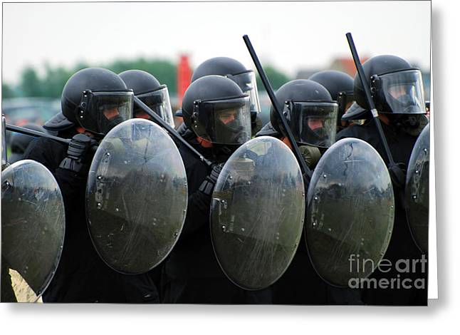 Law Enforcement Greeting Cards - A Training Session In Riot And Crowd Greeting Card by Luc De Jaeger