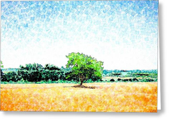 Awesome Mixed Media Greeting Cards - A Tree Near Siena Greeting Card by Jason Allen