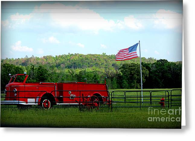 Flag Fire Hydrant Greeting Cards - A Tribute to the Fireman Greeting Card by Kathy  White