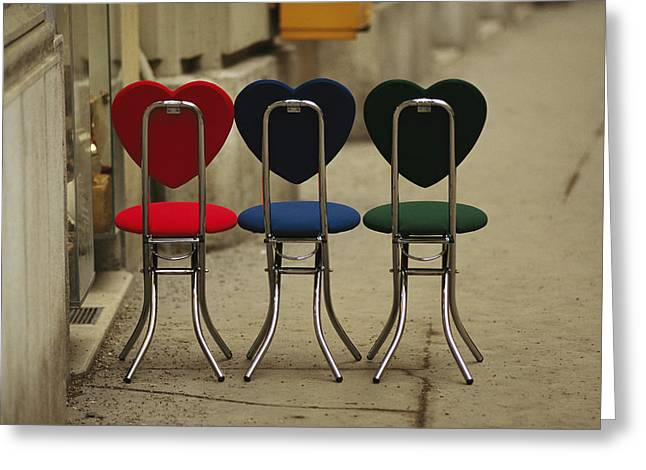 Benches And Chairs Greeting Cards - A Trio Of Fashionable Chairs Greeting Card by Raul Touzon