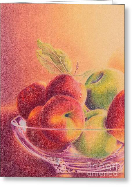 Orchard Drawings Greeting Cards - A Trip to the Orchard Greeting Card by Elizabeth Dobbs