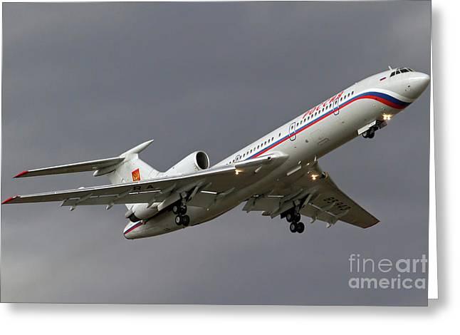 Tupolev Greeting Cards - A Tupolev Tu-154m In Flight Greeting Card by Anton Balakchiev