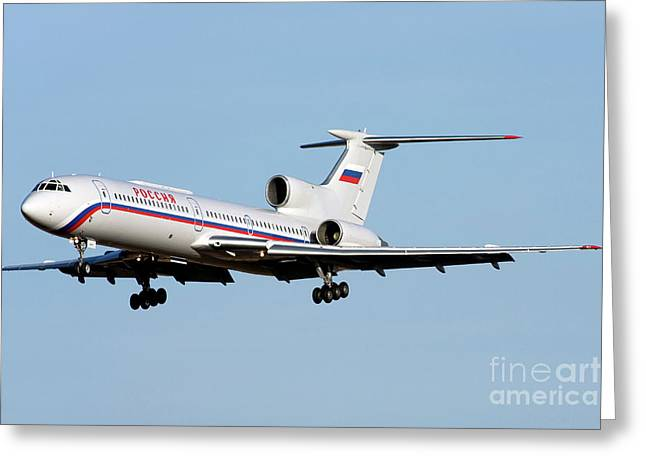 Tupolev Greeting Cards - A Tupolev Tu-154m On Final Approach Greeting Card by Anton Balakchiev