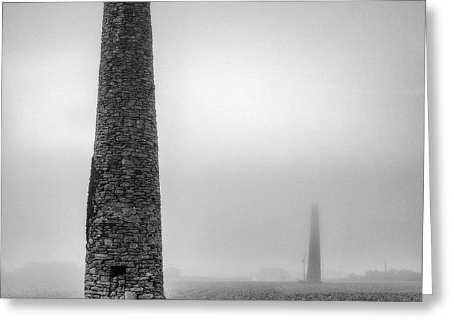 A Twin cornish mine chimneys Greeting Card by John Farnan