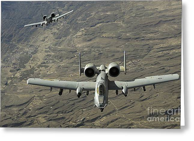 Avengers Photographs Greeting Cards - A Two-ship A-10 Thunderbolt Ii Greeting Card by Stocktrek Images