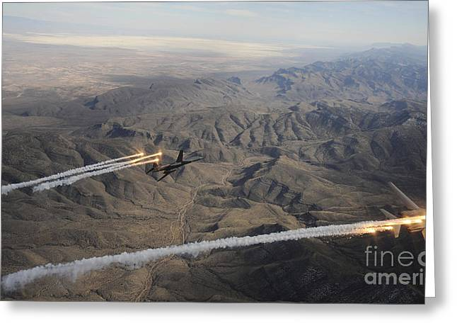 Maneuver Greeting Cards - A Two Ship Of  B-1b Lancers Release Greeting Card by Stocktrek Images