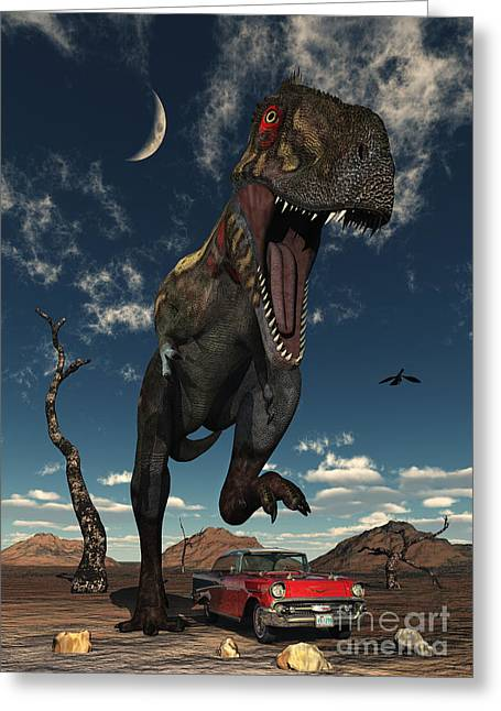 Scavengers Greeting Cards - A Tyrannosaurus Rex About To Crush Greeting Card by Mark Stevenson