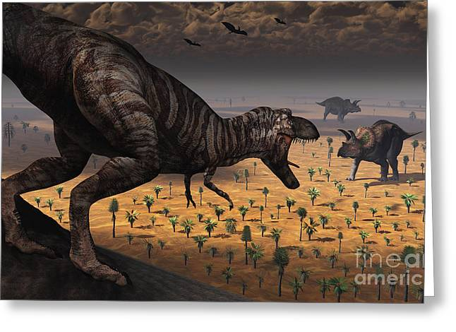 Primeval Greeting Cards - A Tyrannosaurus Rex Spots Two Passing Greeting Card by Mark Stevenson