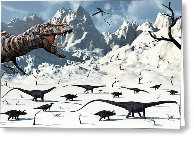 Snow-covered Landscape Digital Greeting Cards - A  Tyrannosaurus Rex Stalks A Mixed Greeting Card by Mark Stevenson