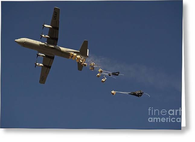 Helmand Province Greeting Cards - A U. S. Air Force C-130 Hercules Greeting Card by Stocktrek Images