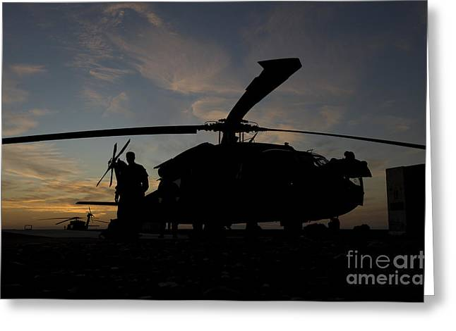 A Uh-60 Black Hawk Helicopter Greeting Card by Terry Moore
