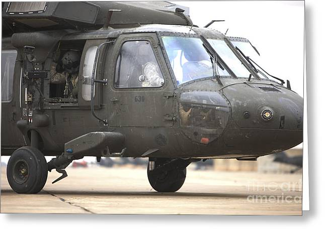 Cob Speicher Greeting Cards - A Uh-60 Black Hawk Taxis Greeting Card by Terry Moore