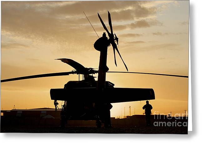 Baghdad Greeting Cards - A Uh-60l Black Hawk Helicopter Greeting Card by Terry Moore