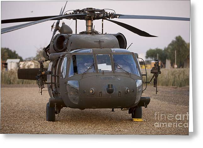 Baghdad Greeting Cards - A Uh-60l Black Hawk With Twin M240g Greeting Card by Terry Moore