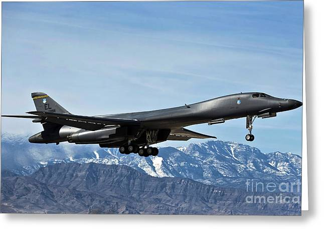 A U.s. Air Force B-1b Lancer Departs Greeting Card by Stocktrek Images