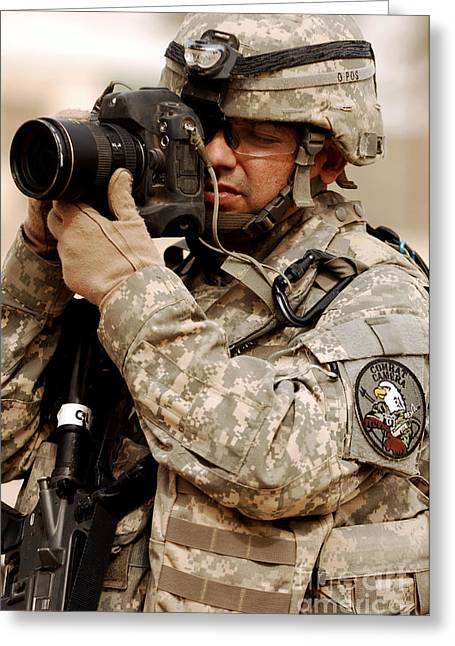 Iraq Photographs Greeting Cards - A U.s. Air Force Combat Cameraman Greeting Card by Stocktrek Images