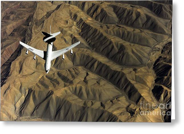 Operation Enduring Freedom Greeting Cards - A U.s. Air Force E-3 Sentry Aircraft Greeting Card by Stocktrek Images