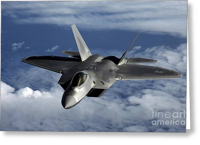 Guam Greeting Cards - A U.s. Air Force F-22 Raptor Aircraft Greeting Card by Stocktrek Images