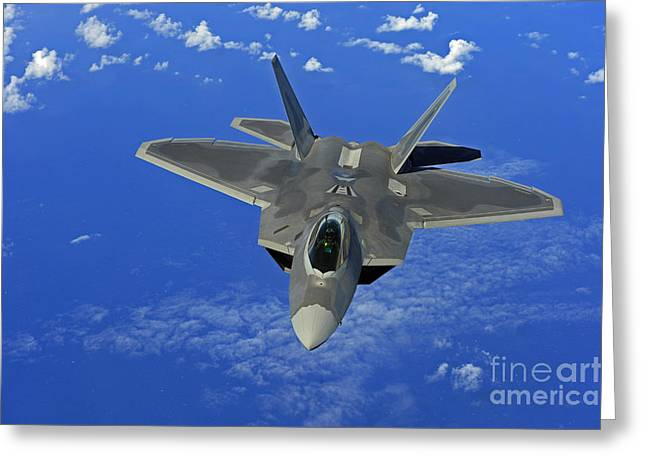 Guam Greeting Cards - A U.s. Air Force F-22 Raptor In Flight Greeting Card by Stocktrek Images