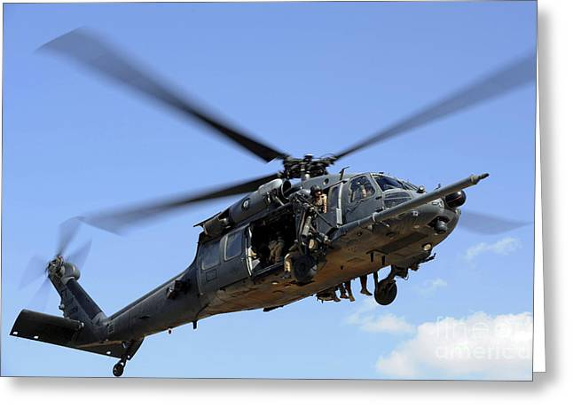 Us Open Photographs Greeting Cards - A U.s. Air Force Hh-60 Pavehawk Comes Greeting Card by Stocktrek Images