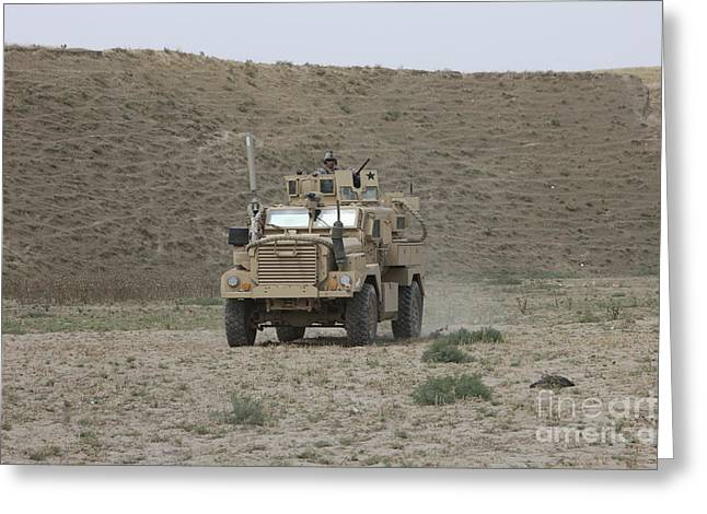 Off-the-shoulder Greeting Cards - A U.s. Army Cougar Patrols A Wadi Greeting Card by Terry Moore
