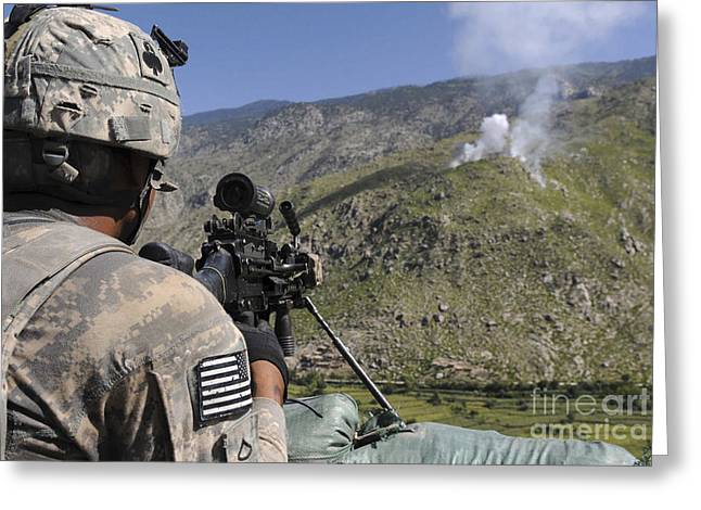 Terrorism Greeting Cards - A U.s. Army Grenadier Scans A Nearby Greeting Card by Stocktrek Images