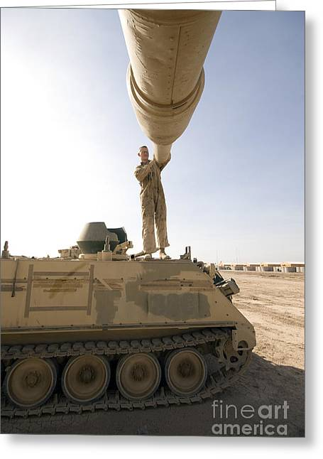 Us Army Tank Greeting Cards - A Us Army Mechanic Uses A M113 Greeting Card by Terry Moore