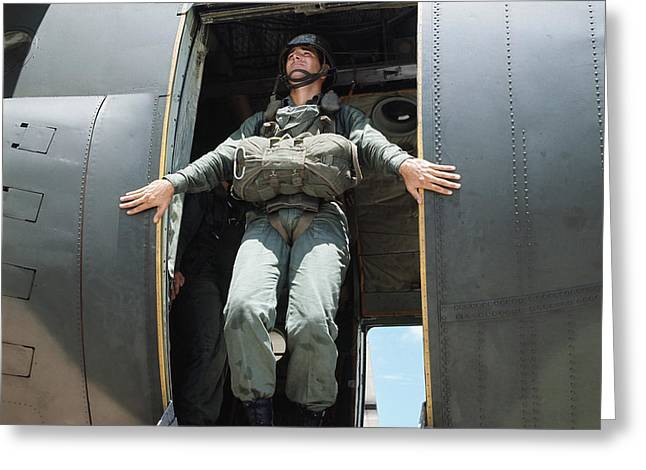 Military Airplanes Greeting Cards - A U.s. Army Ranger Prepares Greeting Card by Stocktrek Images