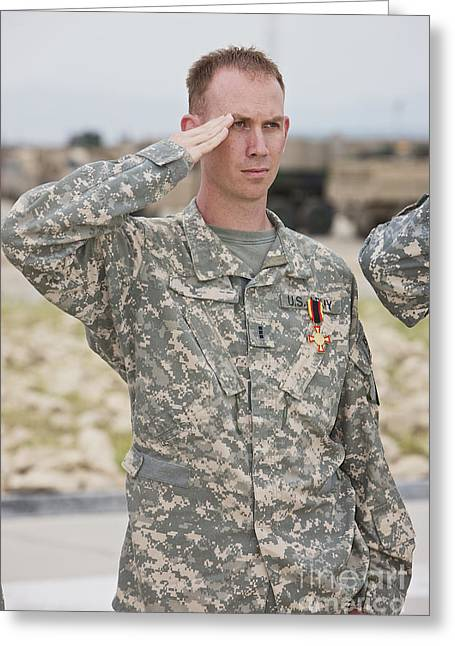 Merit Greeting Cards - A U.s Army Soldier And Recipient Greeting Card by Terry Moore
