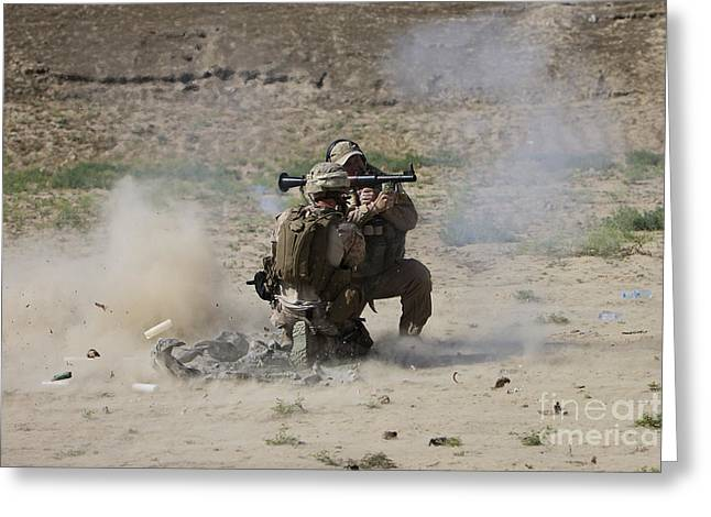 Shoulder-launched Greeting Cards - A U.s. Contractor Fires Greeting Card by Terry Moore
