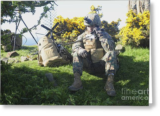 Field Telephone Greeting Cards - A U.s. Marine Communicates Greeting Card by Andrew Chittock