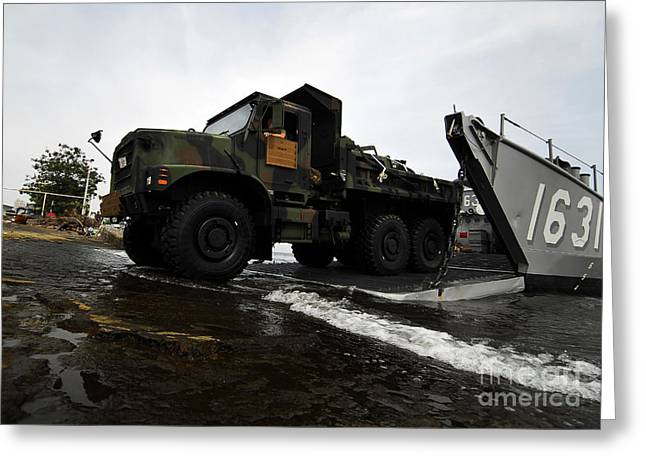 Harpers Ferry Greeting Cards - A U.s. Marine Corps 7-ton Truck Rolling Greeting Card by Stocktrek Images