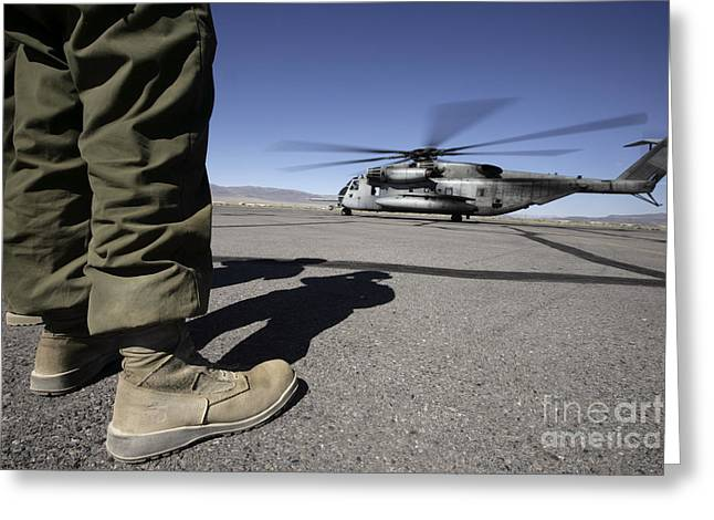 Clear Shoes Greeting Cards - A U.s. Marine Corps Airframe Mechanic Greeting Card by Stocktrek Images