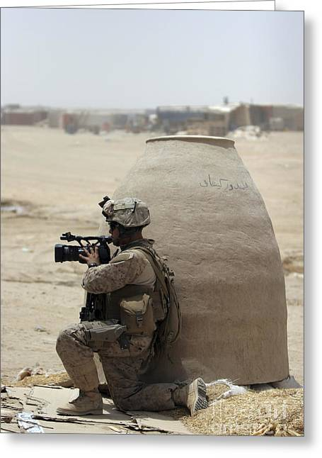Reporting Greeting Cards - A U.s. Marine Corps Combat Videographer Greeting Card by Stocktrek Images