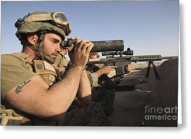 .50 Caliber Greeting Cards - A U.s. Marine Corps Sniper And Spotter Greeting Card by Stocktrek Images